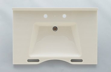 Synthetic marble wash basin with handrail